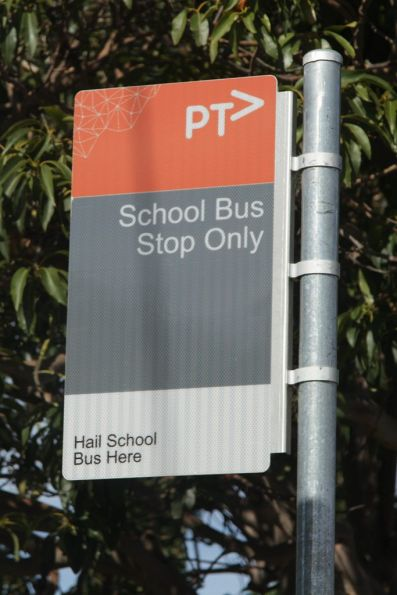 New style PTV 'School bus stop only' sign on the streets of Geelong