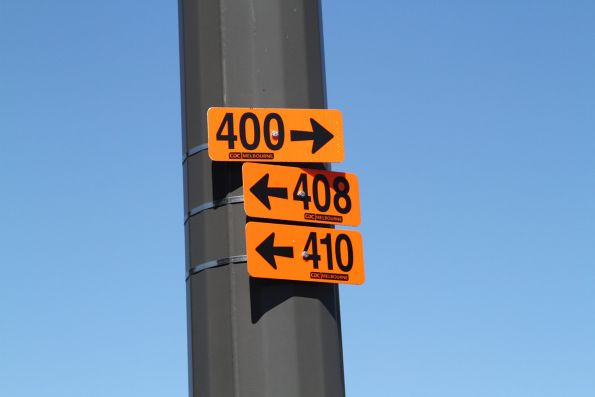 CDC Melbourne directional signs for routes 400, 408 and 410 at Sunshine station