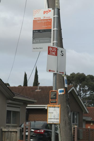 Sita and Transdev co-branded bus stop on Fairbairn Road, Sunshine West