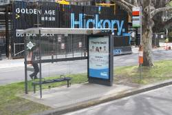 Bus stop on the median strip of St Kilda Road