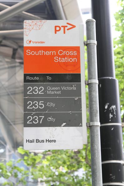 Bus stop for route 232, 235 and 237 outside Southern Cross Station