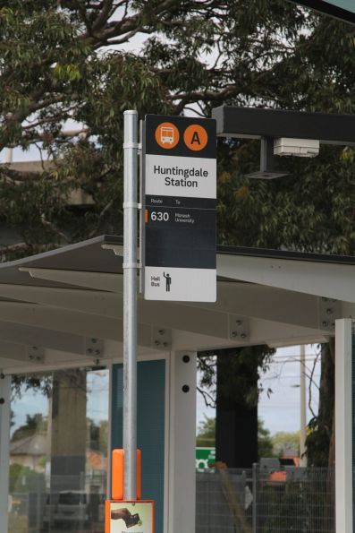 New style PTV signage at the Huntingdale station bus interchange