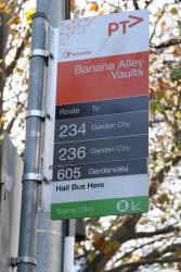 '605 / Gardenvale' tracked onto the bottom of a bus stop sign at Banana Alley Vaults