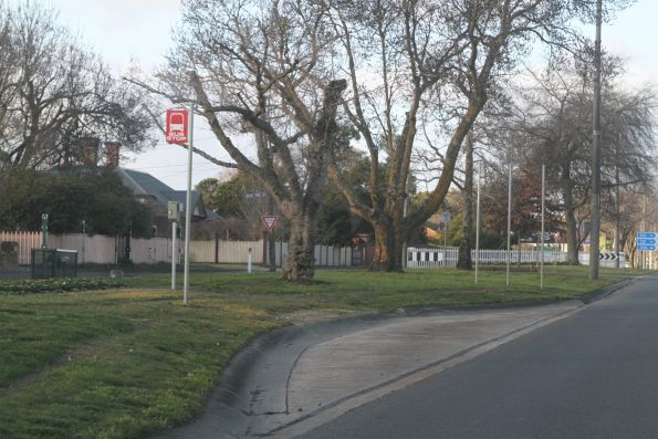 Generic red 'bus stop' signs still in use in Ballarat