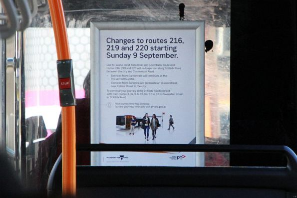 PTV notice of changes to route 216, 219 and 220 services being turned back in the CBD