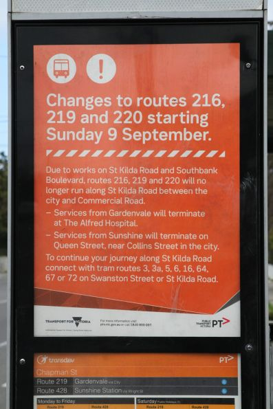 PTV notice that route 216, 219 and 220 services from Sunshine will terminate in the CBD from September 2018