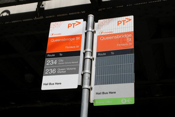 Route 216, 219 and 220 removed from the bus stop sign at Market and Flinders Street