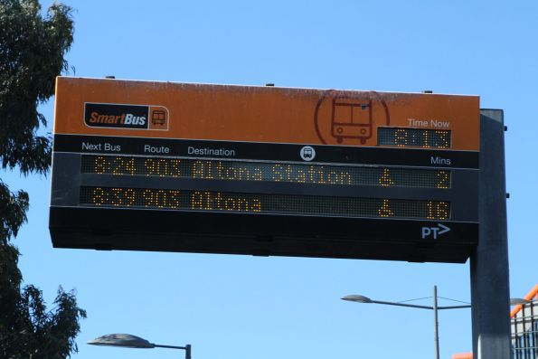 The next two route 903 services are to 'Altona Station' and 'Altona'