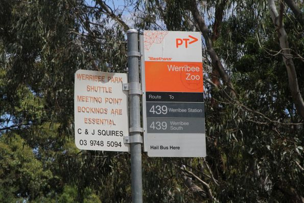 Bus stop for route 439 at Werribee Zoo
