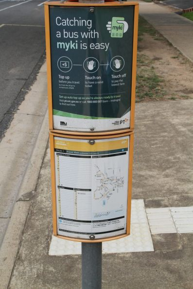 'Catching a bus is easy with myki' sign at a Ararat bus stop