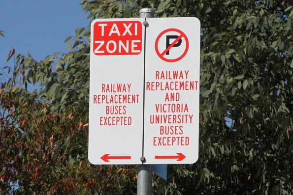 'Railway replacement buses excepted' signs outside Footscray station