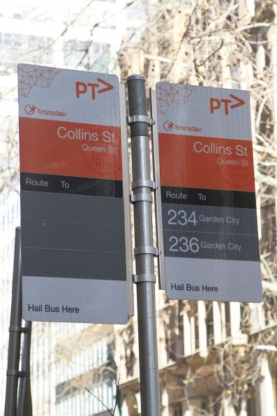 Routes 216, 219 and 220 removed from the bus stop signs at Queen and Collins Street