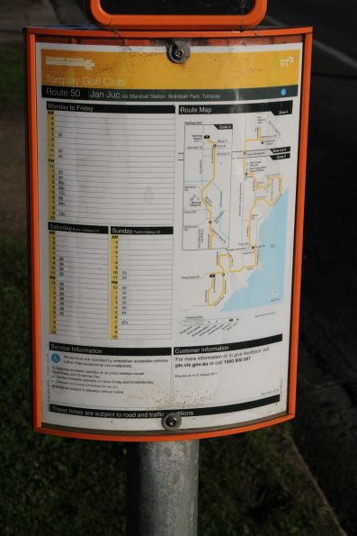 Timetable on the Great Ocean Road in Torquay for the route 50 bus to Jan Juc