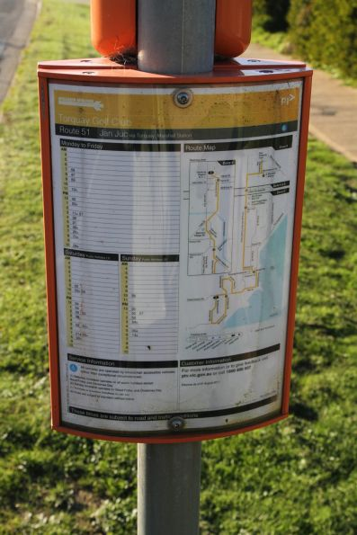 Timetable on the Great Ocean Road in Torquay for the route 51 bus to Jan Juc
