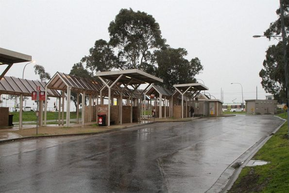 Bus shelters at the La Trobe University terminus in Bundoora