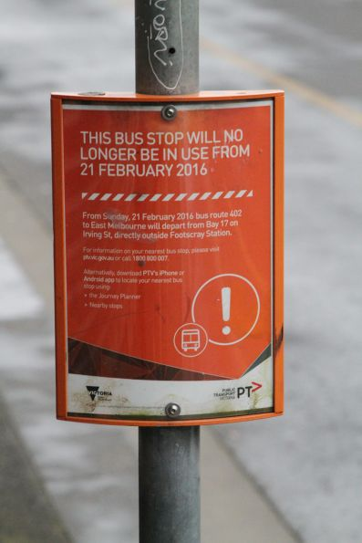 'From 21 February 2016 bus route 402 will not stop here' notice in Footscray