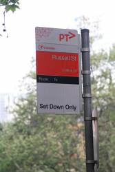 'Set down only' bus stop at Collins and Russell Street