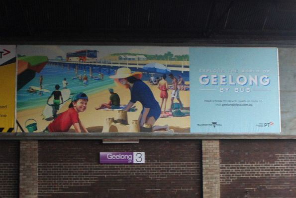 'Explore the world of Geelong by bus' poster at Geelong station
