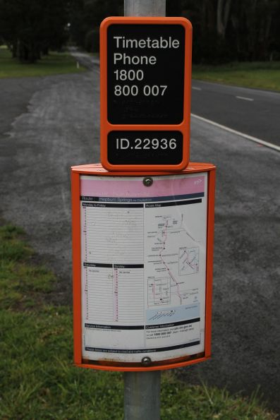 Only one bus a day to this stop at Leonards Hill, outside Daylesford