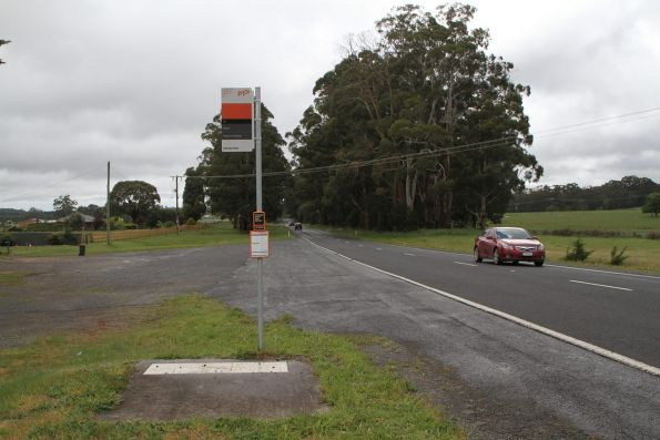 Bus stop on the Ballan to Hepburn Springs route at Leonards Hill, outside Daylesford