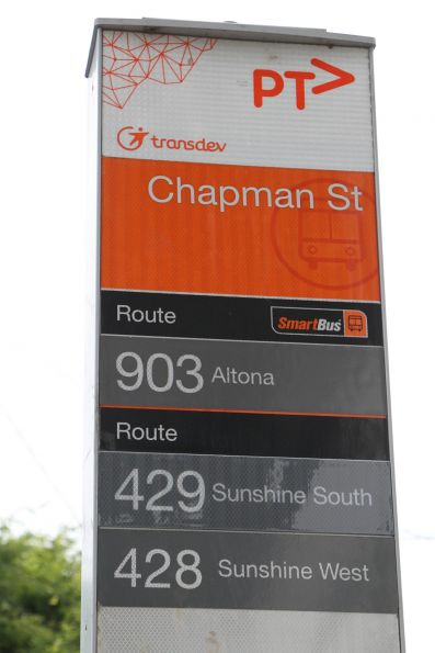 Bus stop on Hampshire Road updated for the new route 429 service to Sunshine South