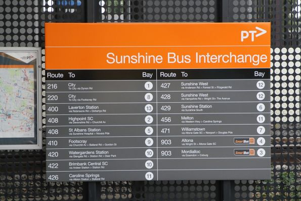 Updated signage at the Sunshine station bus interchange following the introduction of route 429