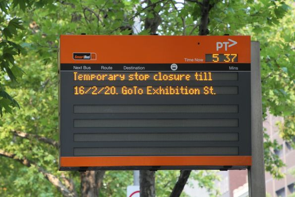 ''Temporary stop closure till 16/2/20 GoTo Exhibition St' message at the Lonsdale and William Street bus stop