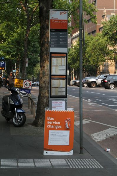 'Lonsdale Street buses disrupted' signage at the Lonsdale and William Street bus stop