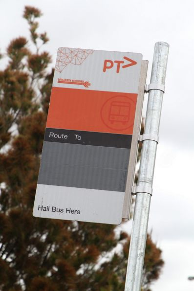 McHarry's branded bus stop flag in use at a temporary bus stop on Harvester Road, Sunshine