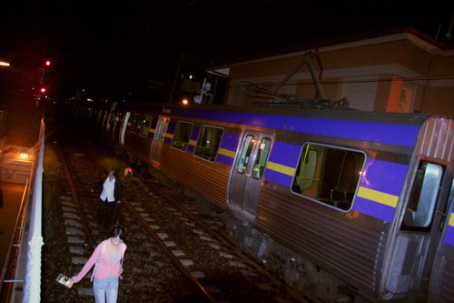 Passengers leave the train