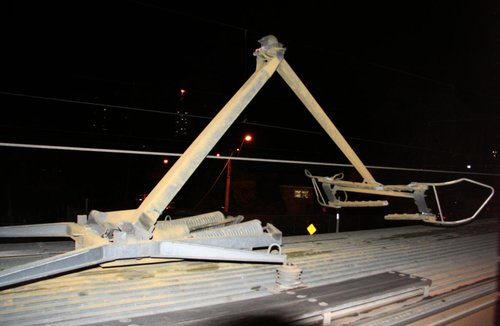 Second pantograph flipped and cracked