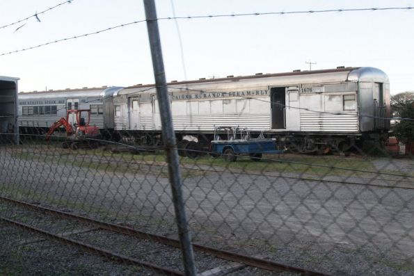 Stainless steel SX carriage 1676 stored in the depot outside Cairns