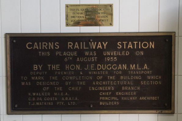 Relocated plaque at Cairns station, marking the opening of the 1955 station building