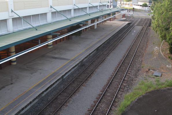 South end of the platform at Cairns station - open to the air unlike the rest of the station
