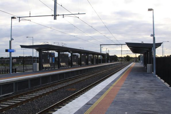 Additional shelters on platforms, looking up the line