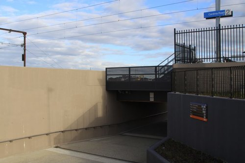 Pedestrian underpass from the north to south side of the tracks