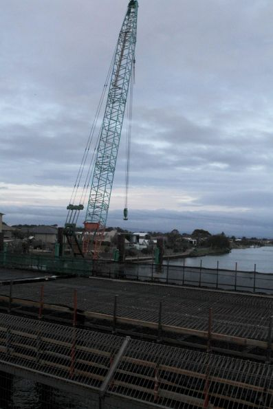 Crane building the new road bridge over the Patterson River at Carrum