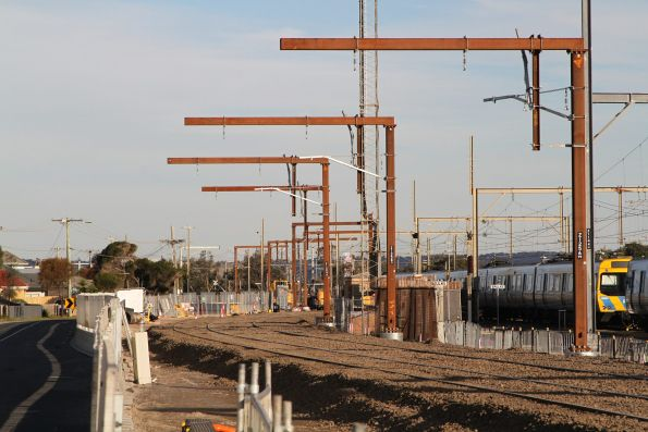 Down end of the temporary eastern track slew at Carrum station