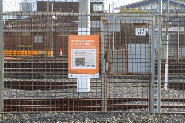 'Temporary access restrictions' notice at the Carrum stabling yard