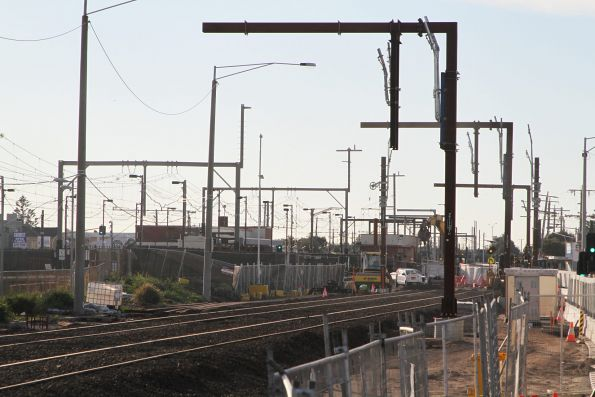 Up end of the temporary eastern track slew at Carrum station