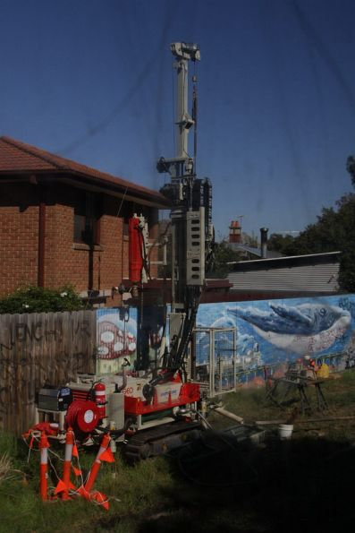 Soil testing taking place between Carnegie and Murrumbeena stations