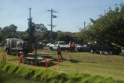Soil testing taking place between Clayton and Westall stations