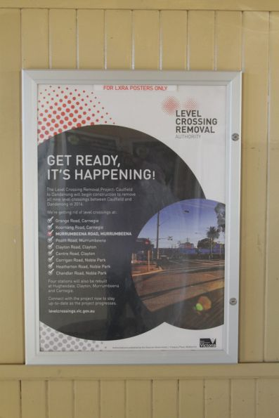 'For LXRA posters only' poster at Murrumbeena station