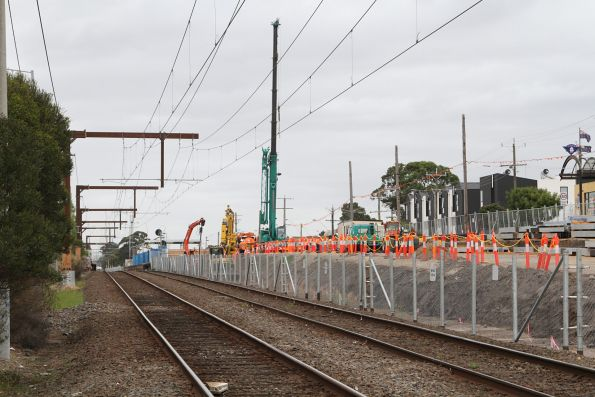 Preparation works underway on the northern side of the railway at Clayton station