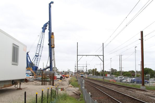 Piling works underway on the northern side of the railway at Clayton station