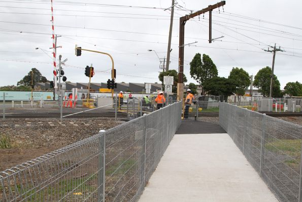 Relocated pedestrian level crossing at Centre Road, Clayton due to the track being slewed