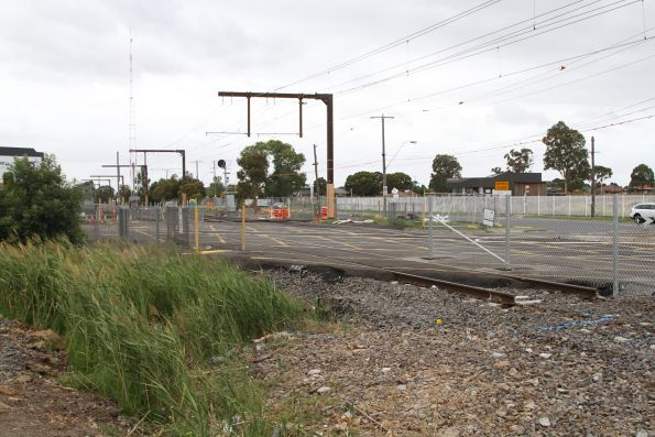Track slew through the Centre Road level crossing at Clayton, to make room for the rail viaduct on the northern side