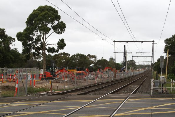 Clearing land for the future rail viaduct east of the Corrigan Road level crossing at Noble Park