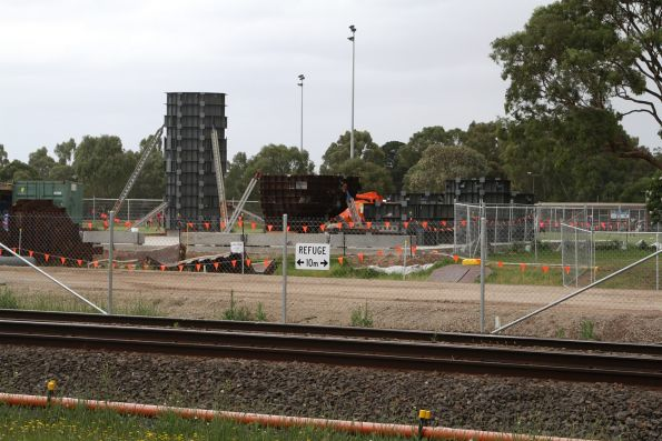 Piling works underway on the north side of the railway at Heatherton Road, Noble Park