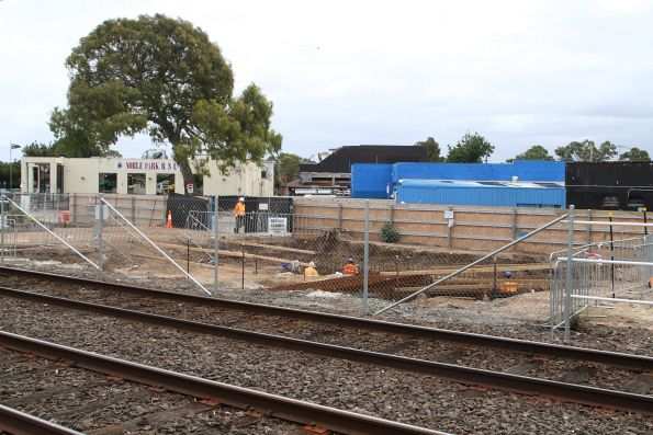 Foundations underway on the north side of the railway at Noble Park station